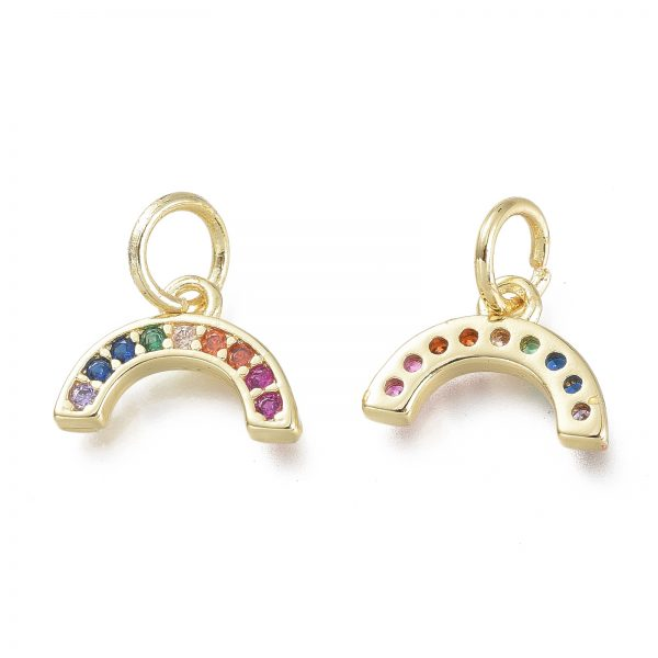 X KK P188 O01 G 1 Real 18K Gold Plated Brass Semicircle Charms with Jump Rings, Micro Pave Clear Cubic Zirconia Pendants, 7.5x11x1.5mm, Hole: 3.5mm, 2 pcs/ bag
