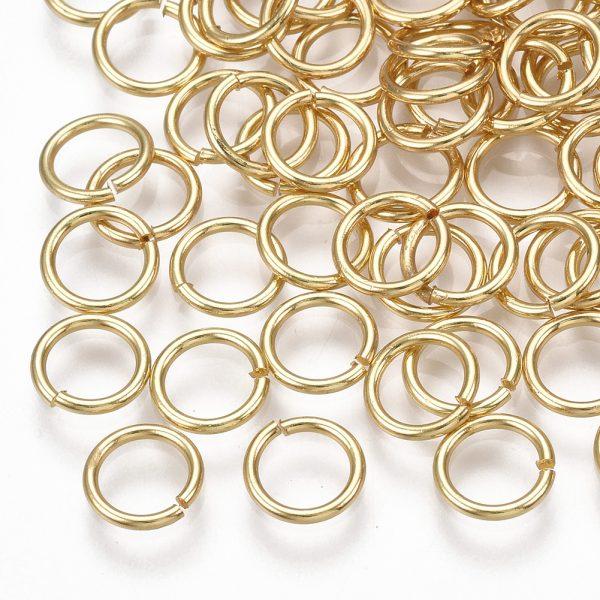 X KK S348 246 Real 18K Gold Plated Brass Open Jump Rings, 7x1mm, 5mm inner diameter, 10 pcs/ bag