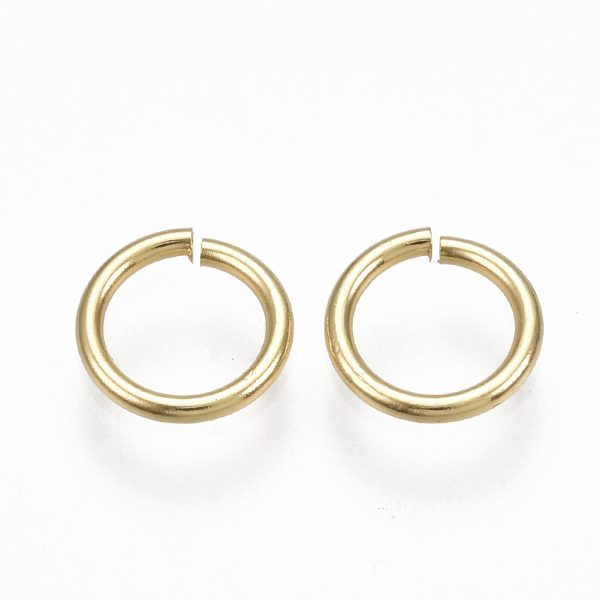 X KK S348 246 1 Real 18K Gold Plated Brass Open Jump Rings, 7x1mm, 5mm inner diameter, 10 pcs/ bag