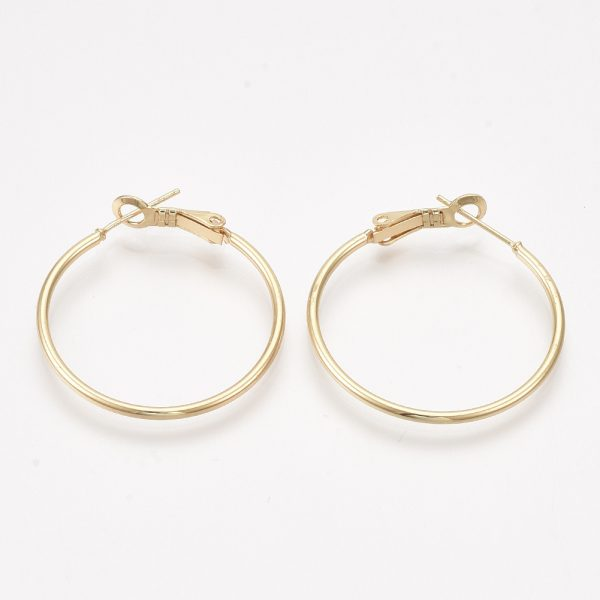 X KK S348 406B Real 18K Gold Plated Brass Round Hoop Earrings Findings, 34x30x1.5mm; Pin: 0.8mm, 2 pcs/ bag