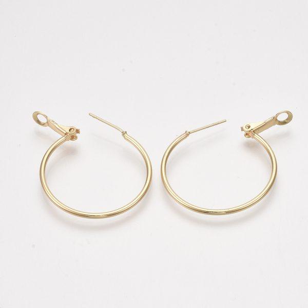 X KK S348 406B 1 Real 18K Gold Plated Brass Round Hoop Earrings Findings, 34x30x1.5mm; Pin: 0.8mm, 2 pcs/ bag