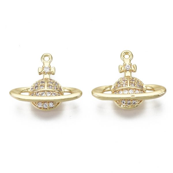 X KK S348 554 NF Real 18K Gold Plated Brass Planet Charms, Micro Pave Clear Cubic Zirconia Pendants, 12.5x15x3mm, Hole: 0.8mm, 1 pcs/ bag