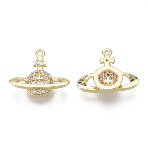 X KK S348 554 NF 1 Real 18K Gold Plated Brass Planet Charms, Micro Pave Clear Cubic Zirconia Pendants, 12.5x15x3mm, Hole: 0.8mm, 1 pcs/ bag