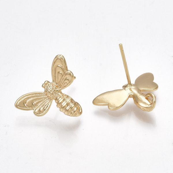X KK S350 024G 1 Real 18K Gold Plated Brass Bee Stud Earring Findings, with Loop, 925 Sterling Silver Pins, Nickel Free, 13x17mm, Hole: 1mm; Pin: 0.7mm, 2 pcs/ bag