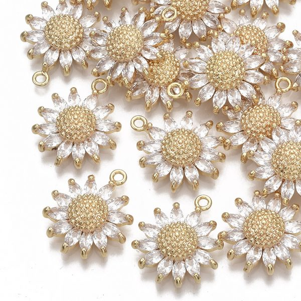 X KK S354 079 NF Real 18K Gold Plated Brass Daisy Pendants, Micro Pave Cubic Zirconia Charms, Nickel Free, 21x17x5.5mm, Hole: 1.6mm, 1 pcs/ bag