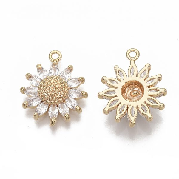 X KK S354 079 NF 1 Real 18K Gold Plated Brass Daisy Pendants, Micro Pave Cubic Zirconia Charms, Nickel Free, 21x17x5.5mm, Hole: 1.6mm, 1 pcs/ bag