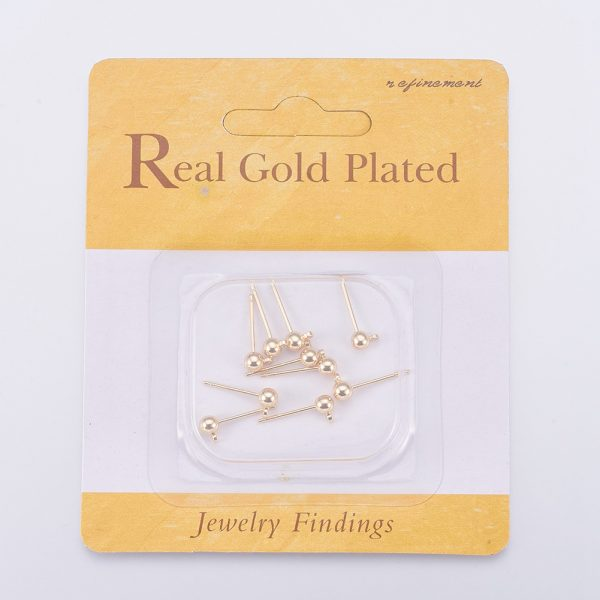 X KK T014 66G 2 Real 18K Gold Plated Brass Ball Stud Earring Post, with Loop, Nickel Free, 6x4mm, Hole: 1mm; Pin: 0.8mm, 10 pcs/ bag