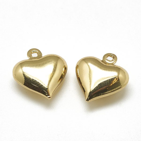 X KK T032 055G Real 18K Gold Plated Brass Heart Charms, 13x12x5mm, Hole: 1mm, 5 pcs/ bag