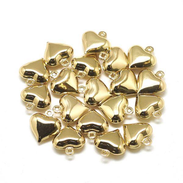 X KK T032 055G 1 Real 18K Gold Plated Brass Heart Charms, 13x12x5mm, Hole: 1mm, 5 pcs/ bag