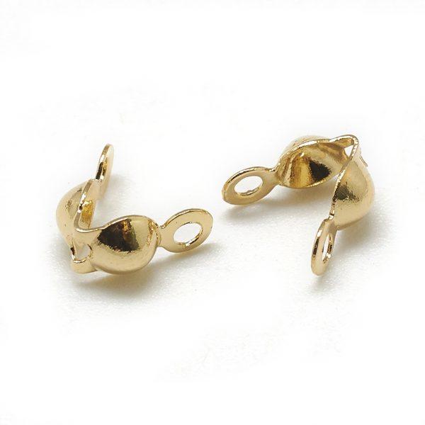 X KK T032 153G Real 18K Gold Plated Brass Clamshell Bead Tips, 7x4mm, Hole: 1mm; Inner Diameter: 3mm, 20 pcs/ bag