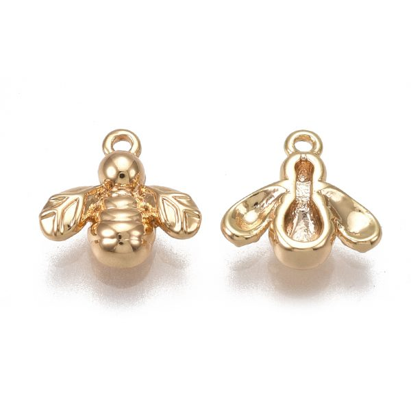 X KK T038 404G 1 Real 18K Gold Plated Brass Bee Charms, Nickel Free, 8x8x2mm, Hole: 0.8mm, 2 pcs/ bag