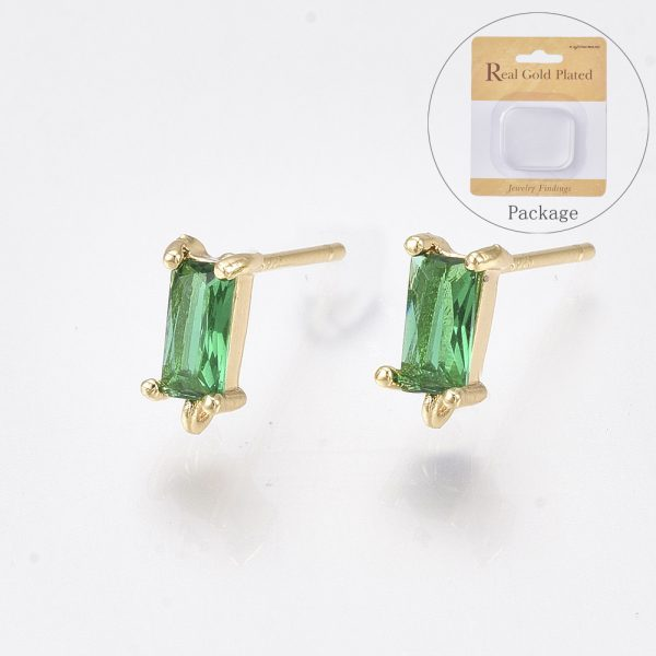 X KK T038 492A Real 18K Gold Plated Brass Rectangle Green Earring Studs, with 925 Sterling Silver Pins, Cubic Zirconia and Loop, Nickel Free, 8.5x4mm, Hole: 0.8mm; Pin: 0.8mm, 2 pcs/ bag