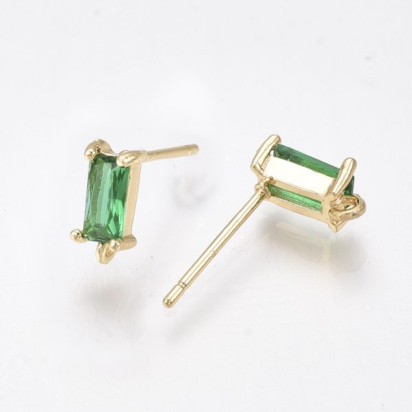 X KK T038 492A 1 Real 18K Gold Plated Brass Rectangle Green Earring Studs, with 925 Sterling Silver Pins, Cubic Zirconia and Loop, Nickel Free, 8.5x4mm, Hole: 0.8mm; Pin: 0.8mm, 2 pcs/ bag