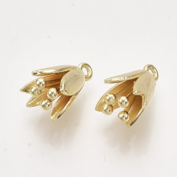 X KK T038 534G NF Real 18K Gold Plated Brass Flower Charms, Nickel Free, 14x9x10mm, Hole: 1.2mm, 2 pcs/ bag