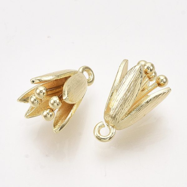 X KK T038 534G NF 1 Real 18K Gold Plated Brass Flower Charms, Nickel Free, 14x9x10mm, Hole: 1.2mm, 2 pcs/ bag
