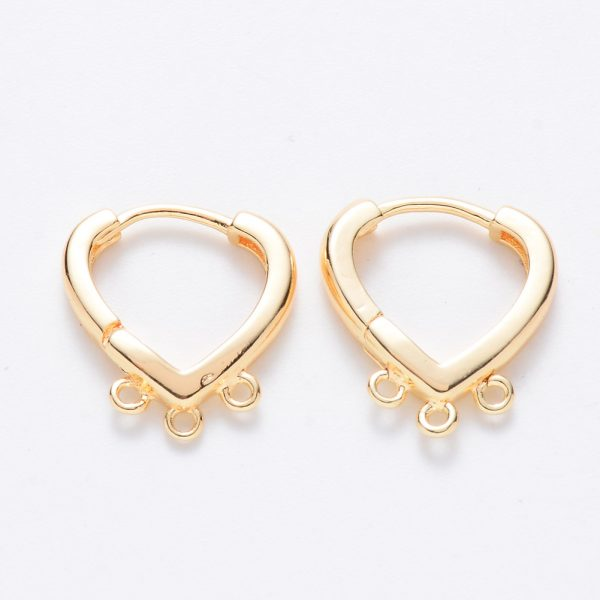 X KK T049 16G NF Real 18K Gold Plated Brass Heart Hoop Earring Findings with 3 closed loops, Nickel Free, 17x15x2.5mm, Hole: 1.2mm; Pin: 1mm, 2 pcs/ bag