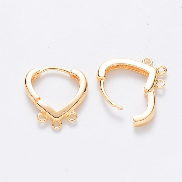 X KK T049 16G NF 1 Real 18K Gold Plated Brass Heart Hoop Earring Findings with 3 closed loops, Nickel Free, 17x15x2.5mm, Hole: 1.2mm; Pin: 1mm, 2 pcs/ bag