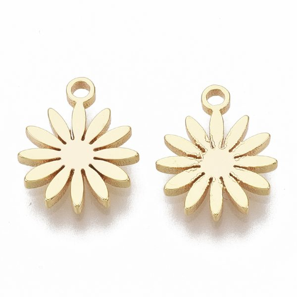 X KK T055 001G NF 1 Real 18K Gold Plated Brass Flower Charms, Nickel Free, 10x8x1mm, Hole: 1mm, 5 pcs/ bag