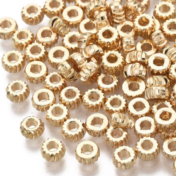 X KK T063 001B NF Real 18K Gold Plated Brass Rondelle Twist Beads, Nickel Free, 3x1.5mm, Hole: 1.2mm, 2 pcs/ bag, 50 pcs/ bag