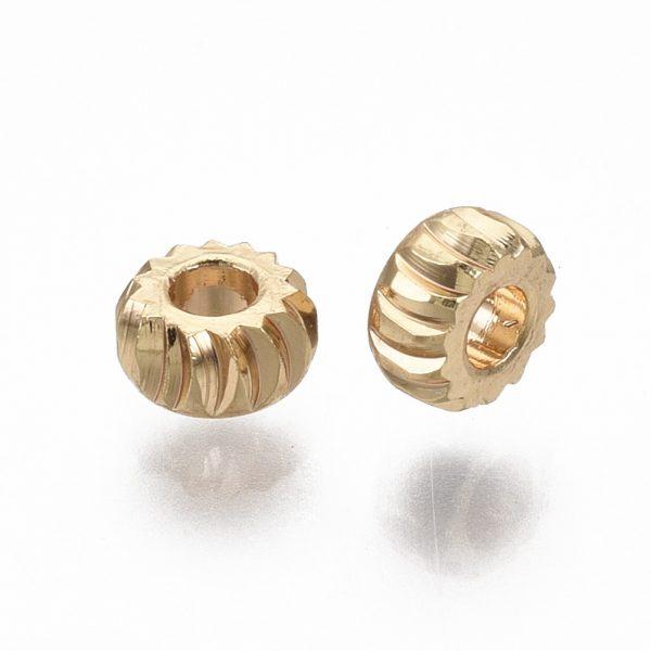 X KK T063 001B NF 1 Real 18K Gold Plated Brass Rondelle Twist Beads, Nickel Free, 3x1.5mm, Hole: 1.2mm, 2 pcs/ bag, 50 pcs/ bag