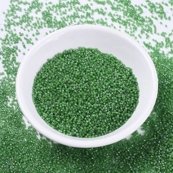 X SEED J020 DB0274 MIYUKI Delica Beads 11/0, (DB0274) Lined Pea Green Luster, 1.3x1.6mm, Hole: 0.8mm; about 2000pcs/10g