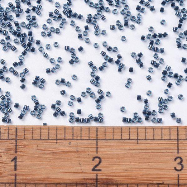 X SEED J020 DB0286 2 MIYUKI Delica Beads 11/0, (DB0286) Midnight Blue Lined Aqua AB, 1.3x1.6mm, Hole: 0.8mm; about 2000pcs/10g