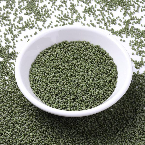 X SEED J020 DB0391 MIYUKI Delica Beads 11/0, (DB0391) Matte Opaque Olive Luster, 1.3x1.6mm, Hole: 0.8mm; about 2000pcs/10g