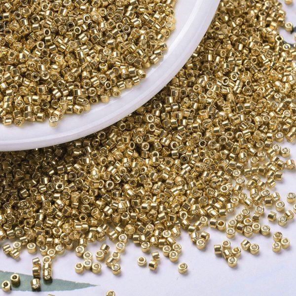 X SEED J020 DB0410 3 MIYUKI Delica Beads 11/0, (DB0410) Galvanized Yellow Gold, 1.3x1.6mm, Hole: 0.8mm; about 2000pcs/10g
