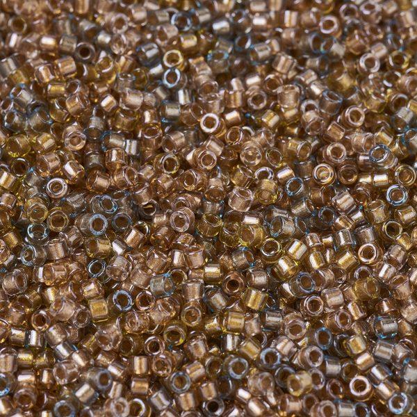 X SEED J020 DB0981 1 MIYUKI Delica Beads, Cylinder 11/0, (DB0981) Sparkling Lined Sand Dune Mix(Gold Beige Aqua), 1.3x1.6mm, Hole: 0.8mm; about 2000pcs/10g