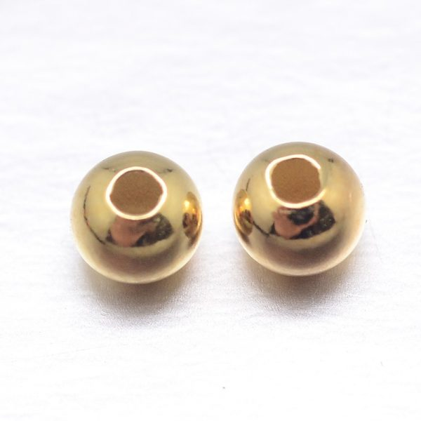 X STER M103 04 3mm G Real 18K Gold Plated Round Sterling Silver Spacer Beads, Golden, 3mm, Hole: 1.2mm, 10 pcs/ bag