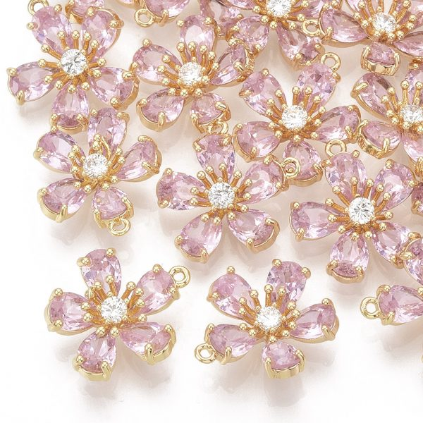 X ZIRC K082 002B Real 18K Gold Plated Brass Peach Blossom/Flower Pendants, Micro Pave Cubic Zirconia Charms, Pink, 15.5x14x5mm, Hole: 1.2mm, 1 pcs/ bag