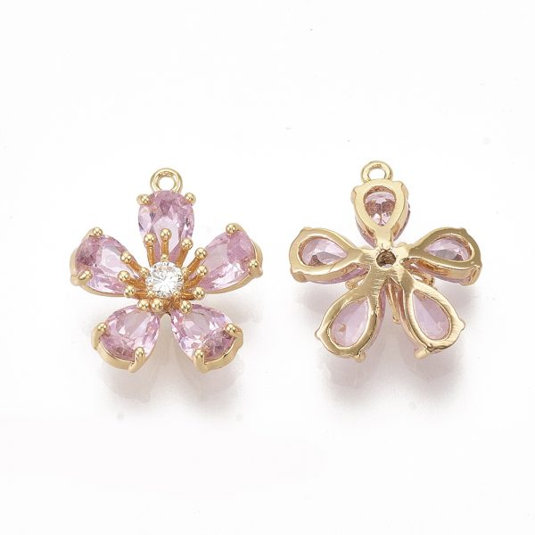 X ZIRC K082 002B 1 Real 18K Gold Plated Brass Peach Blossom/Flower Pendants, Micro Pave Cubic Zirconia Charms, Pink, 15.5x14x5mm, Hole: 1.2mm, 1 pcs/ bag