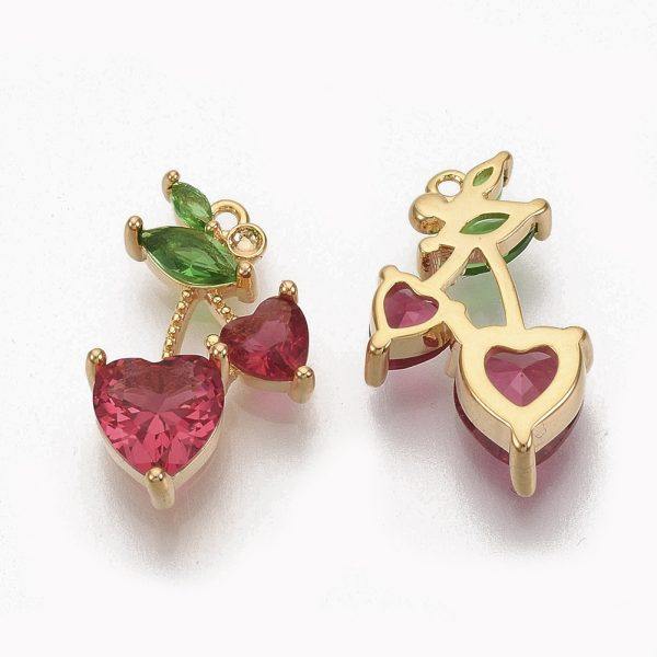 X ZIRC Q021 018G NF 1 Real 18K Gold Plated Brass Cherry Pendants, Cubic Zirconia Charms, Dark Red & Green, Nickel Free, 16.5x10x4mm, Hole: 0.9mm, 1 pcs/ bag