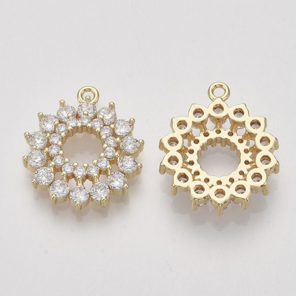 X ZIRC S064 004 1 Real 18K Gold Plated Brass Flower Pendants, Micro Pave Cubic Zirconia Charms, Clear, Nickel Free, 20.5x18x5mm, Hole: 1.5mm, 1 pcs/ bag