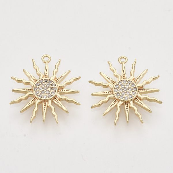 X ZIRC T011 27G NF 1 Real 18K Gold Plated Brass Sun Pendants, Micro Pave Cubic Zirconia Charms, Nickel Free, 17.5x16x2.5mm, Hole: 1mm, 2 pcs/ bag