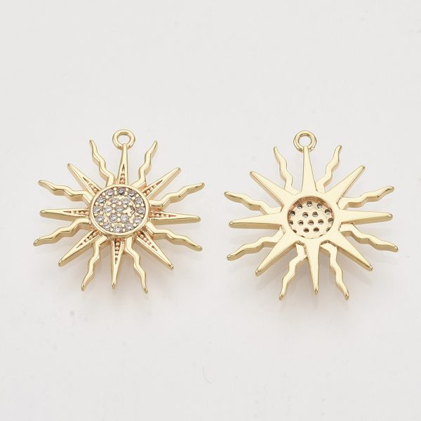 X ZIRC T011 27G NF 1 1 Real 18K Gold Plated Brass Sun Pendants, Micro Pave Cubic Zirconia Charms, Nickel Free, 17.5x16x2.5mm, Hole: 1mm, 2 pcs/ bag