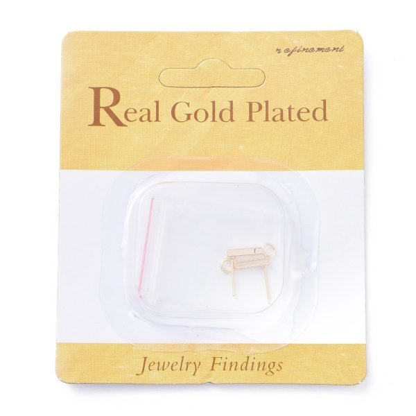 ad65b1f7faaf6c559d8c3d495837ad09 Real 18K Gold Plated Brass Rectangle Bar Earring Studs with Loop, Nickel Free, 14x2x2mm, Hole: 1.5mm; Pin: 1mm, 2 pcs/ bag