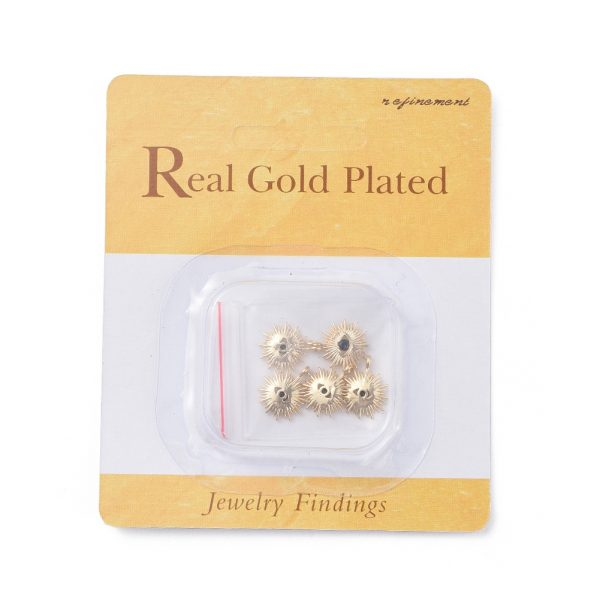 ad7ec291d57e2d397647f1111bed56ff 1 Real 18K Gold Plated Brass Eye Charms, with Cubic Zirconia, Black, 14x12x2mm, Hole: 1mm, 5 pcs/ bag