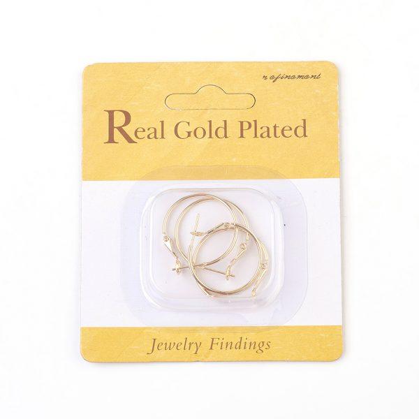 adb8495568ca0312fd35d1f28315a720 Real 18K Gold Plated Brass Hoop Earrings, Nickel Free, 30x24.5x1.5mm; Pin: 0.7mm, 4pcs/ bag
