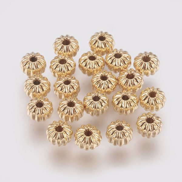 ade0ecf47792e4f72c0a036fbbeb3aea Real 18K Gold Plated Brass Rondelle Corrugated Beads, Nickel Free, 4x3mm, Hole: 1mm, 20 pcs/ bag