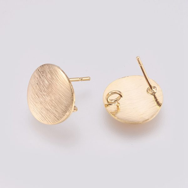 b17c8c48a30c777408f408da66bc51d3 Real 18K Gold Plated Brass Flat Round Earring Studs with Loop, Nickel Free, 12mm, Hole: 2mm; pin: 0.5mm, 4 pcs/ bag