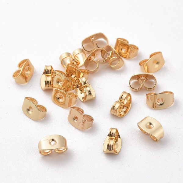 b304f0a7e3d6310eb376daf59a25de9e Real 18K Gold Plated Brass Ear Nuts, Earring Backs, Nickel Free, 5x3.5x2.5mm, Hole: 0.8mm, 20 pcs/ bag