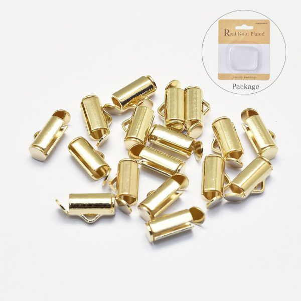 b3611d7e5fb920573a69c689eb3aad4d Crimp End Caps Slider Clasp Buckles Tubes Diy Bracelet Connectors Loom Findings for Jewelry Making Accessories, Real 18K Gold Plated Brass Slide On End Tube Clasps, Nickel Free