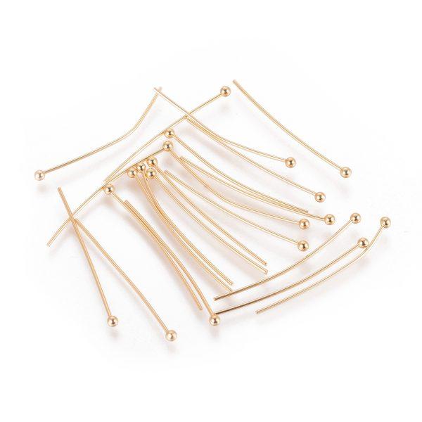 b40fa478f412e2d22da549dcffddc9f6 Real 18K Gold Plated Brass Ball Head Pins, 30x0.8mm, Head: 2mm, 20 pcs/ bag
