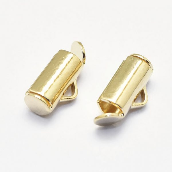 b7950d6367babae6032533ec14bccbab Crimp End Caps Slider Clasp Buckles Tubes Diy Bracelet Connectors Loom Findings for Jewelry Making Accessories, Real 18K Gold Plated Brass Slide On End Tube Clasps, Nickel Free