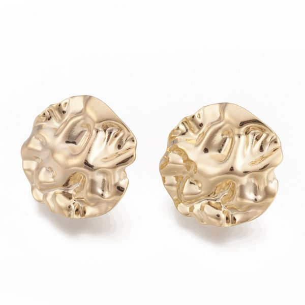 b946ff6869032521faeb75ea80c523e6 Real 18K Gold Plated Brass Flat Round Earring Studs with Loop, Nickel Free, 18.5x19mm, Hole: 2mm; Pin: 0.8mm, 2 pcs/ bag