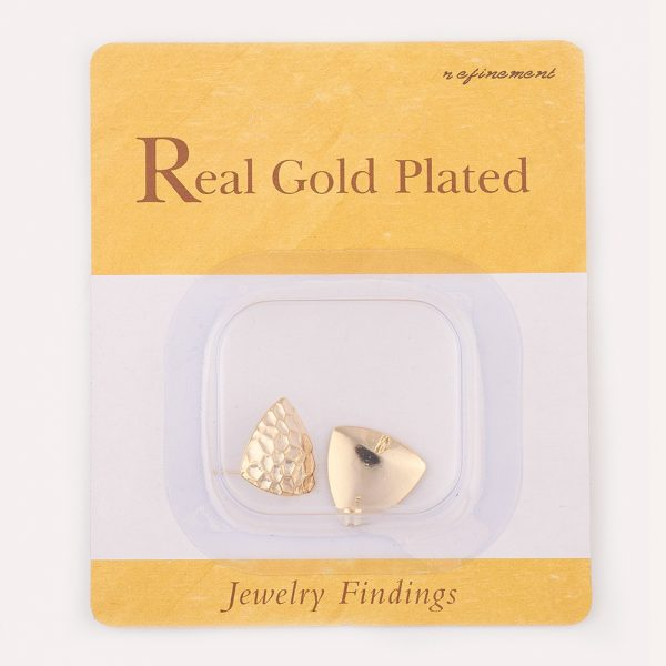 b95e49b0278f95268446ca2213a72f72 Real 18K Gold Plated Brass Triangle Earring Studs with Loop, Nickel Free, 16.5x17mm, Hole: 2mm; Pin: 0.5mm, 2 pcs/ bag