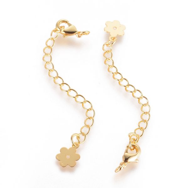 bee07748f495c98d4474758d9304a09f Real 18K Gold Plated Brass Chain Extender, with Lobster Claw Clasps and Flower Tips, 71x3mm, Hole: 2.5mm, 5 pcs/ bag