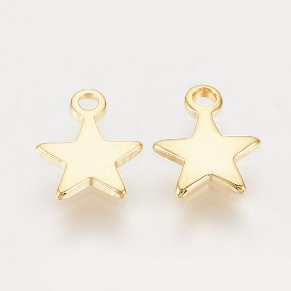 bf070ce3dd1edaefe8d297faa93ee2b1 Real 18K Gold Plated Brass Star Charms, Nickel Free, 8x6x1mm, Hole: 1mm, 20 pcs/ bag