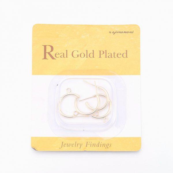c84ab24d11ca7cc6cc69d64f7231f9bd Real 18K Gold Plated Brass Half Hoop Earring Studs with Loop, Nickel Free, 23x24x2mm, Hole: 2mm; Pin: 0.7mm, 4 pcs/ bag